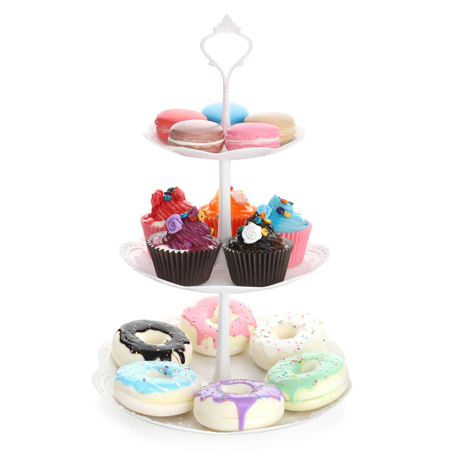 Fruit Desserts Cupcake Candy Buffet Plastic Round Plate Stand Serving Platter Display Tree Tower Stand for Wedding Home Birthday Festival Party White 3 Tier Round Nuovoware 3-Tier Cake Stand