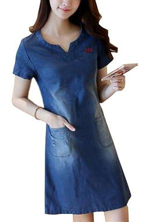 Omuutr Damen Sommer Blusenkleid Jeanskleid V Ausschnitt Kurzarm Slim