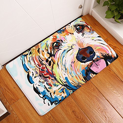 YJBear Thin Colorful Puppy Dog Pattern Floor Mat Coral Fleece Home Decor Carpet Indoor Rectangle Doormat Kitchen Floor Runner 16