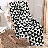 "Ustide Black and White Crochet Throw Blanket Cozy Cable Sleeping Throws Super Soft Warm Air Conditioning Blanket for Bedroom Living Room/Couch Cover 51""x67"""