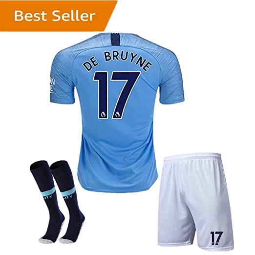 f2429f0c4 Manchester City  17 DE BRUYNE Home Kids Or Youth 18 19 Season Soccer Jersey