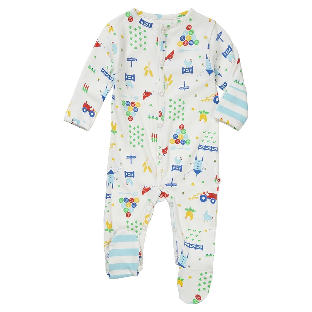 Piccalilly Organic Jersey Cotton Footed Baby Sleepsuit Unisex Farm Design