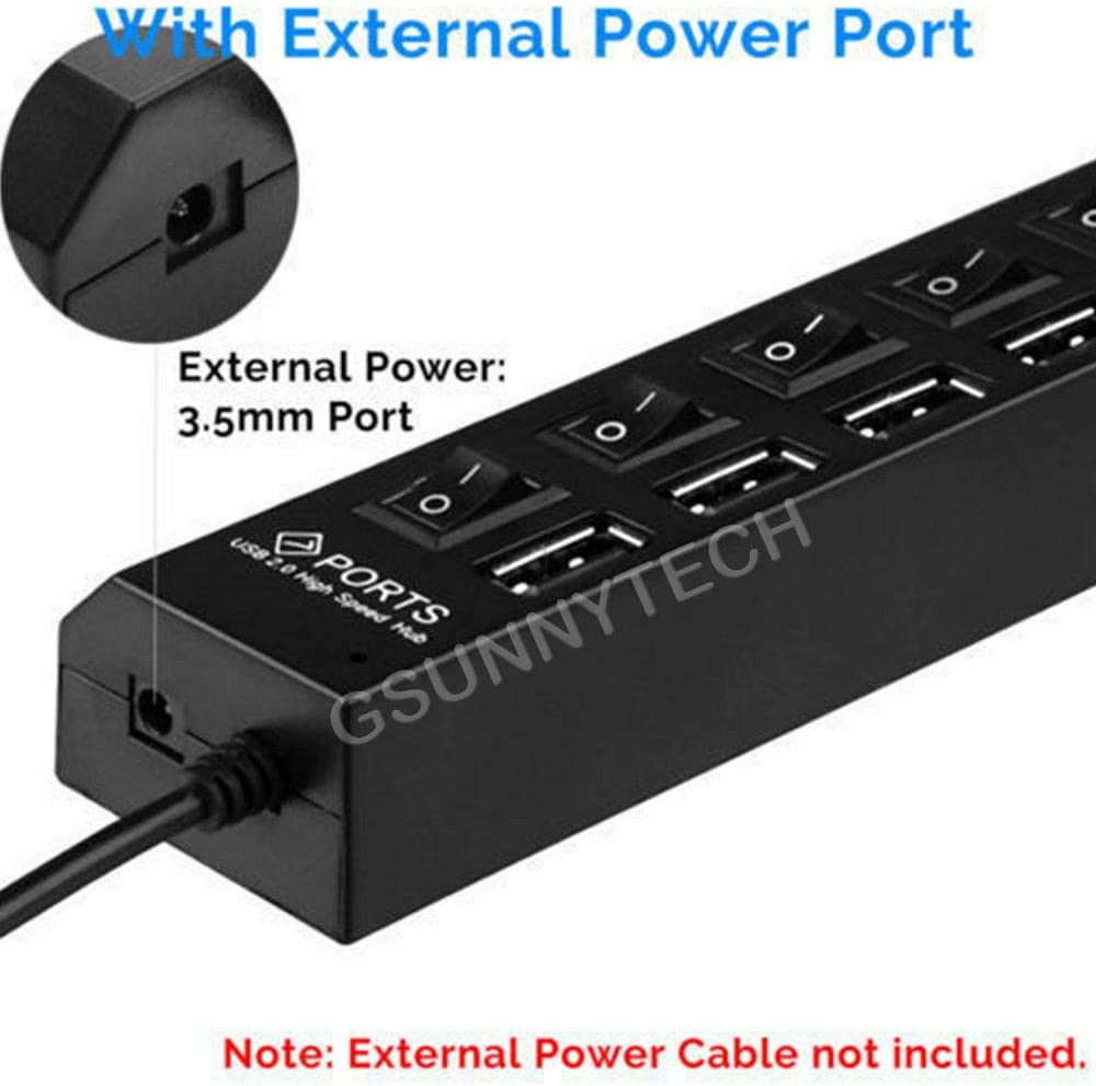 High Speed Adapter ON//Off Switch PC Laptop 7-Port USB 2.0 Multi Charger Hub