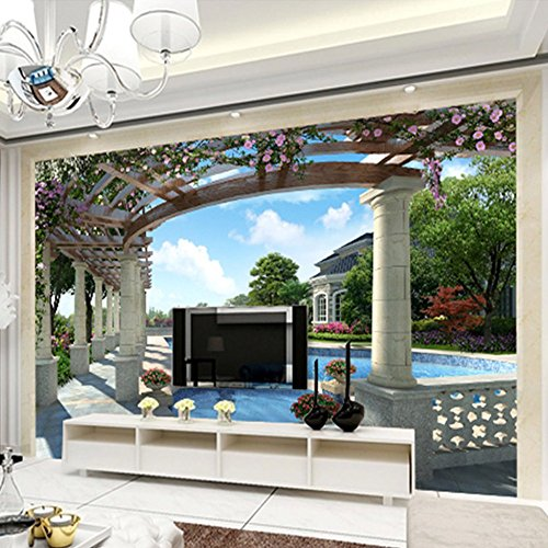Colomac Wall Mural Modern Luxury Villa Swimming Pool Garden Mural Suitable for Living Room Home Decor Bedroom Study Sofa TV Background Wallpaper 78.8 Inch x 59 Inch by colomac (Image #2)