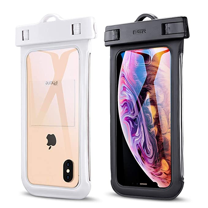 "ESR Universal Waterproof Case, IPX8 Waterproof Phone Pouch, Dry Bag Compatible with iPhone Xs Max/Xs/XR/X/8 Plus, Samsung Galaxy S10/S10+/S10e/S9/Note9, Google Pixel 3a, and Phones up to 6.0"", 2 Pack best waterproof phone pouch"