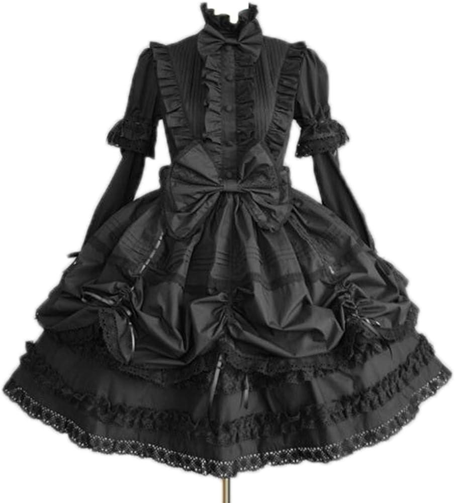 Amazon.com: Nuoqi para mujer gótico vestido de princesa lazo ...