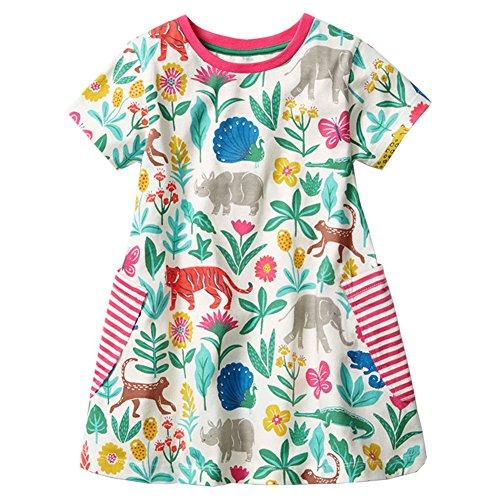 Animal Printed Dress - HILEELANG Little Girls Cotton Dress Casual Summer Sundress Flower Printed Jumper Skirt