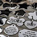 Stainless Steel Pet Id Tags: Bone, Round, Heart, House, Star, Rectangle, and Bow Tie. Includes up to 8 Lines of Customized Text - Front and Back Engraving.