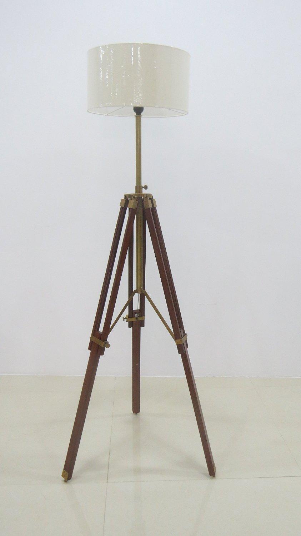 Surveyor Tripod Floor Lamp For Living Room Cherry Finish Wood