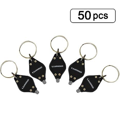 LUMAND Pack of 50 Uv LED Flashlight Mini Keychain Id Currency Passports Detector Gift (50PCS, Black) - - Amazon.com