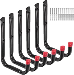Heavy Duty Garage Utility U Hooks,Wall Mount Garage Hanging Storage Hook for Ladders, Bicycle and Tools 6 Pack (Black)