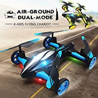 Aikes Flying Car RC drone Quadcopter, Remote control Car Headless Mode with LED Lights Flying Vehicles (Blue)