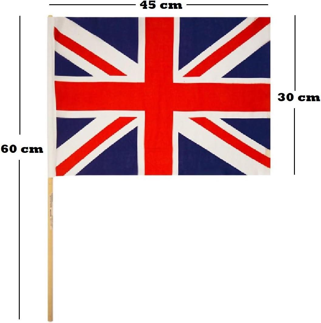 Lizzy® - Bandera de la Unión Jack (45 x 30 cm, con palo de madera): Amazon.es: Jardín