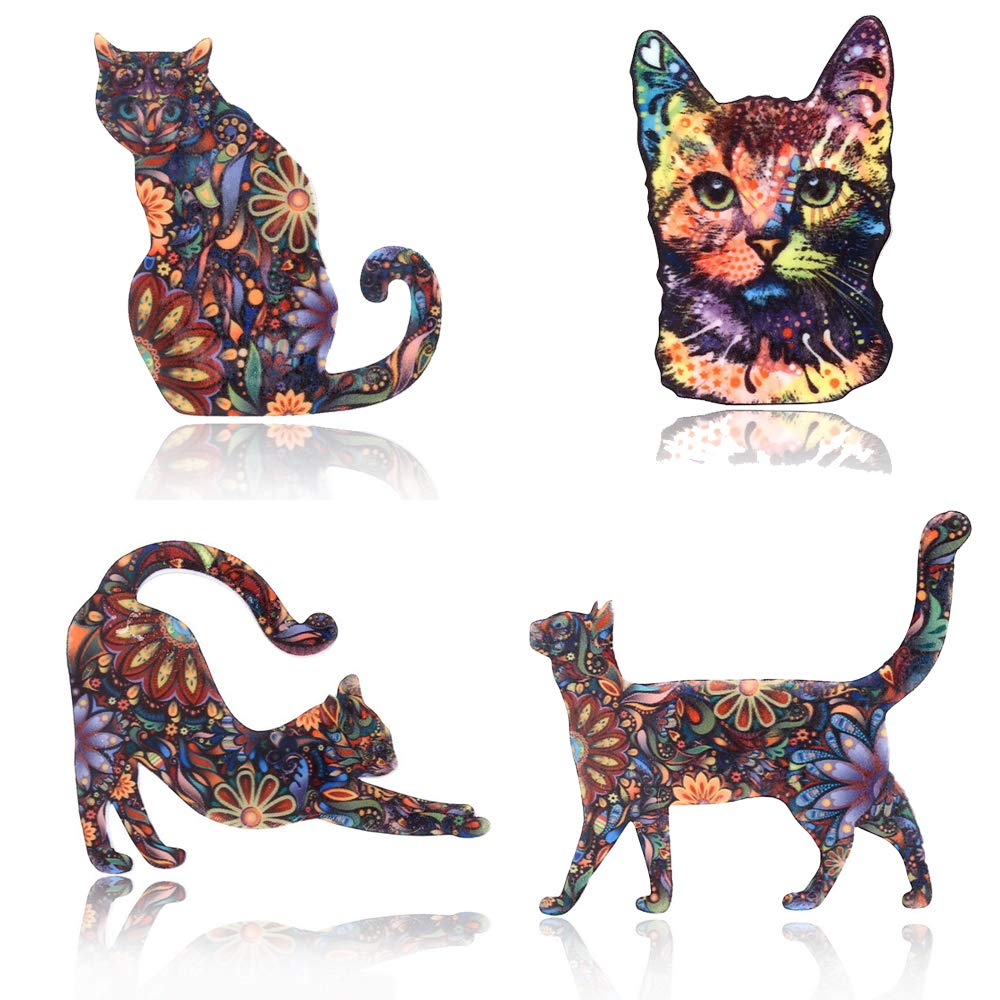 Vintage Flowers Print Cats Brooch Pin Animals Acrylic Brooches Colorful Unisex Dress Collar Decorations Badge Jewelry