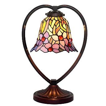 Luz de escritorio estilo Tiffany, Lámpara de mesa de vidrio ...