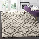 Safavieh Hudson Shag Collection SGH284A Ivory and Grey Moroccan Geometric Area Rug (9' x 12')