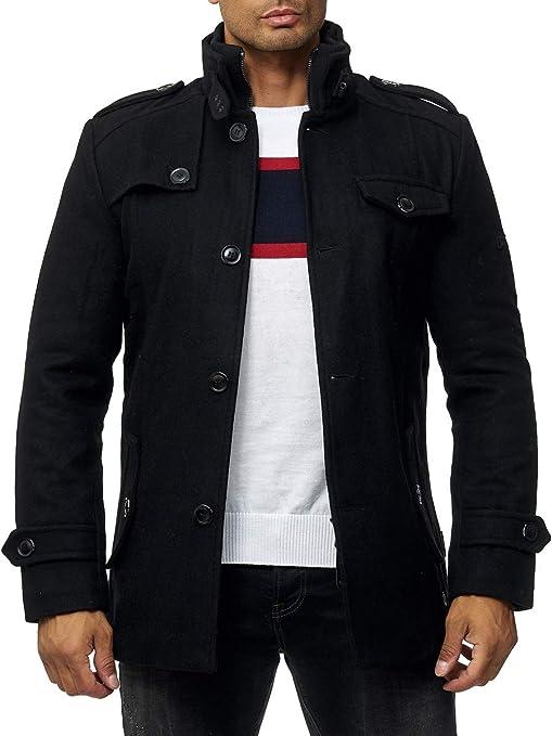 TALLA M. Indicode Brandan - Abrigo de lana para hombre, con cuello alto, mezcla de lana