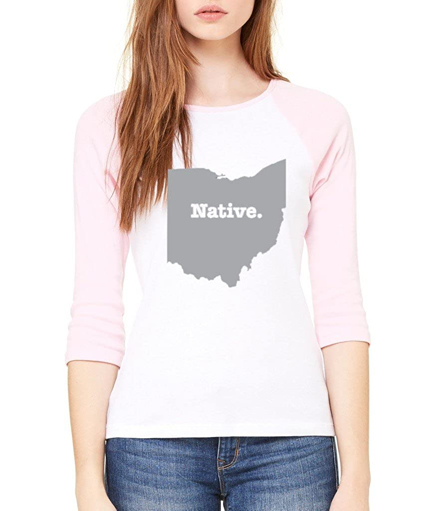 State of Ohio Native Home State 3//4 Sleeve Borned and Raised Raglan Baseball Shirt