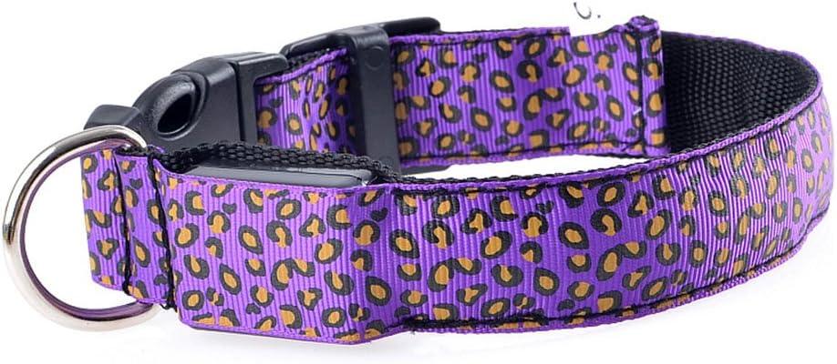 Gogdog - Collar de Perro con Leopardo LED Parpadeante, Nailon, 3 Modos, iluminación de Seguridad, Collar para Mascotas, Accesorios Luminosos para Mascotas