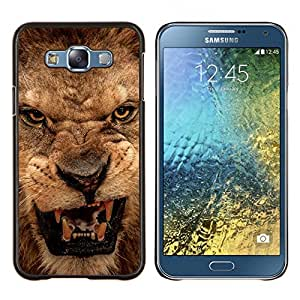 - EYES TEETH ROAR PORTRAIT CLOSE ANGRY LION - Caja del tel¨¦fono delgado Guardia Armor- For Samsung Galaxy E7 E7000 Devil Case