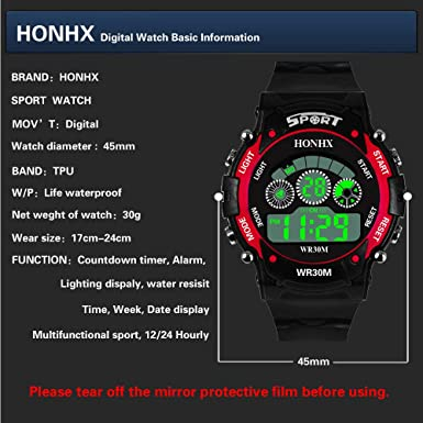 Amazon.com: Digital Watch for Men, DYTA Sport Watches 5 ATM Waterproof Outdoor LED Watch Military Wrist Watch with Rubber Strap Analog Quartz Casual Watch ...