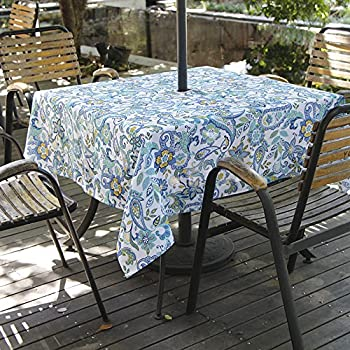 Amazon Com Lahome Paisley Flower Outdoor Tablecloth With
