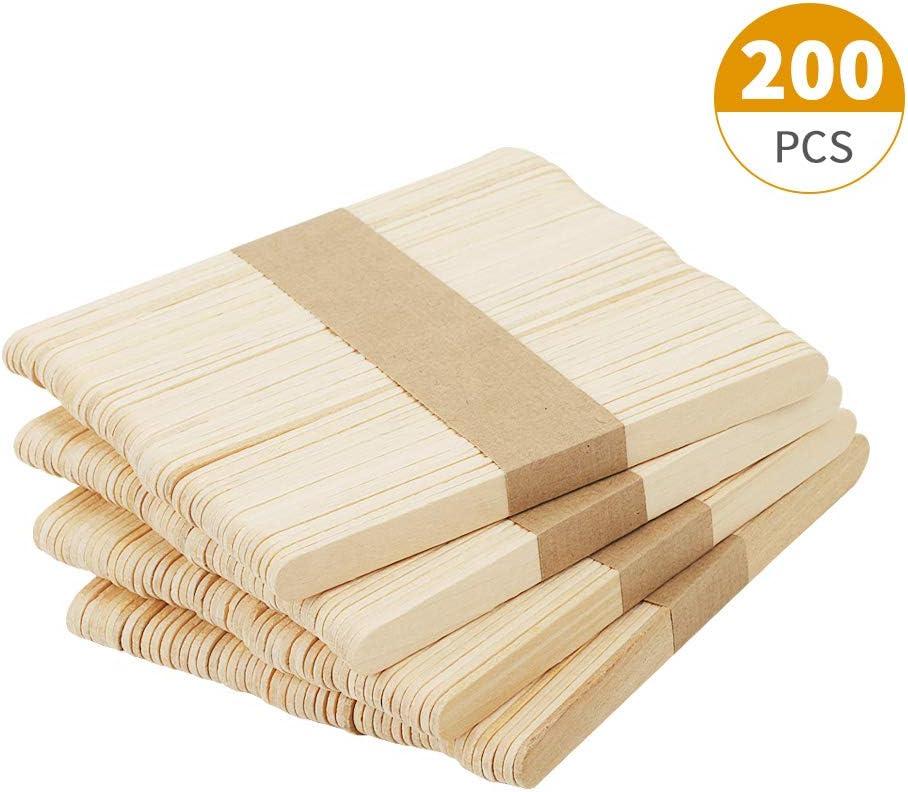 Chuya 200Pcs Wood Craft Sticks 4.5 inch Garden Plant Label Wooden Popsicle Ice Cream Sticks for Hand DIY Craft 4.5 inch Length