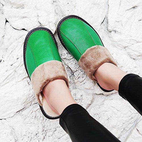 Soggiorno fankou Autunno Inverno cotone pantofole indoor uomini e donne coppie home pavimenti in legno caldo e pantofole inverno gancio ,43-44, verde