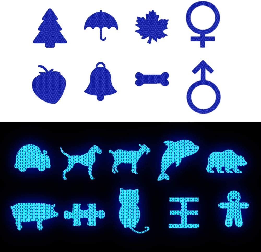 Muchkey Highly Reflective Tape Sticker Heart shape Road Safety Stickers Reward Labels For Children Bikes Helmets Signs Blue