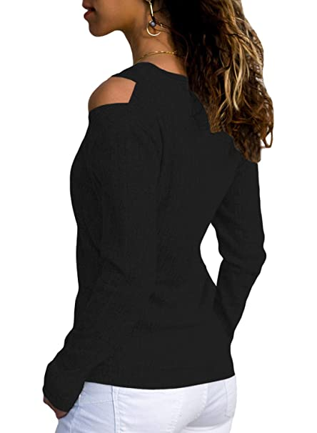 fa9e16def09367 Asvivid Women Cold Shoulder V Neck Ribbed Long Sleeve Knit Sweater Solid  Color Soft Cosy Pullover Blouse Top  Amazon.co.uk  Clothing