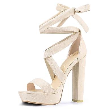 adf1e3c48fe Allegra K Women s Lace Up Beige Platform Block Heel Sandals - 6 ...