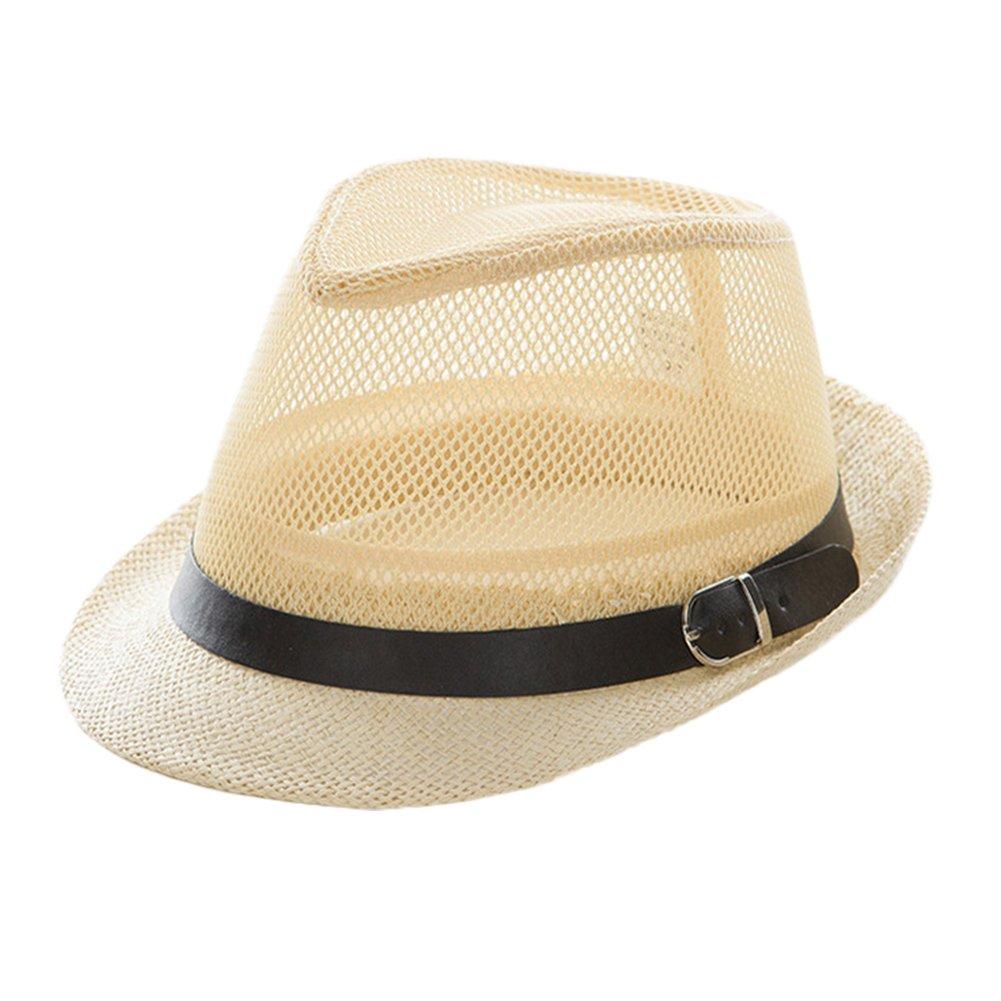4URNEED Damen Herren Sommer Hut Strohhut Panamahüte Fedora Trilby Hut Pu Leder Band