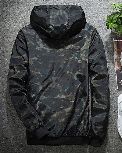 Tasche Impermeabile Cappotto Cerniera Nero Camuffamento Uomo Cappuccio Sportivo Giacca E0qXY4w