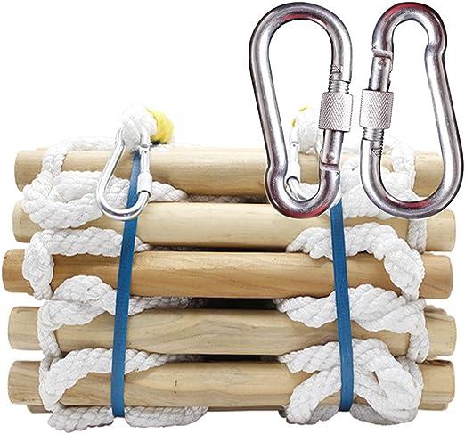 Escalera de Cuerda de Escape de Incendios Escalera de Seguridad de Emergencia Resistente al Fuego con Ganchos Niños Adultos Escapar de la Ventana y el Balcón Round wooden stick, polyester rope,20m: Amazon.es: