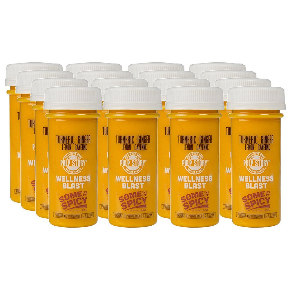 PULP STORY Some Like It Spicy Cold Pressed Turmeric Juice Wellness Shots, 2 Ounce Single Servings, 16 Count
