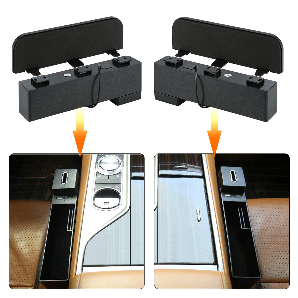 FREESOO Console Side Pocket ABS Plastic,Car Seat Organizer with Card and Coin Pocket Black