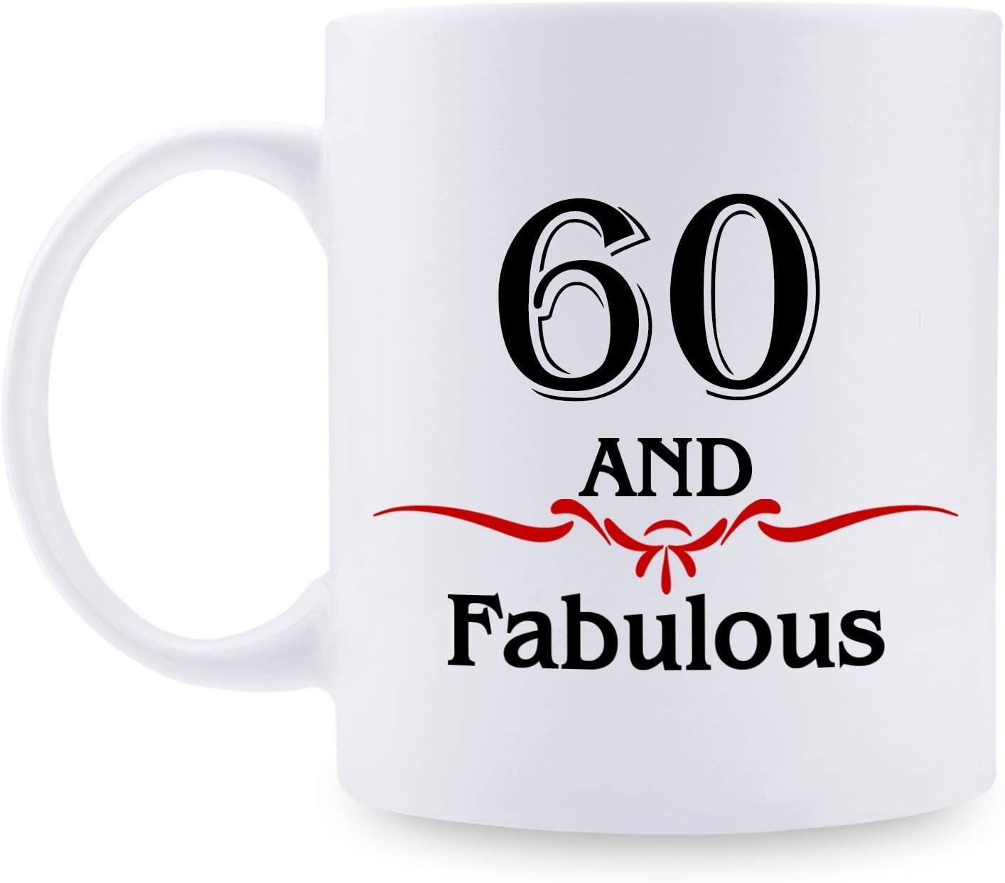 60th Birthday Gifts for Women - 1960 Birthday Gifts for Women, 60 Years Old Birthday Gifts Taza de café para mamá, esposa, amiga, hermana, ella, colega, compañera de trabajo, 60 años y fabuloso