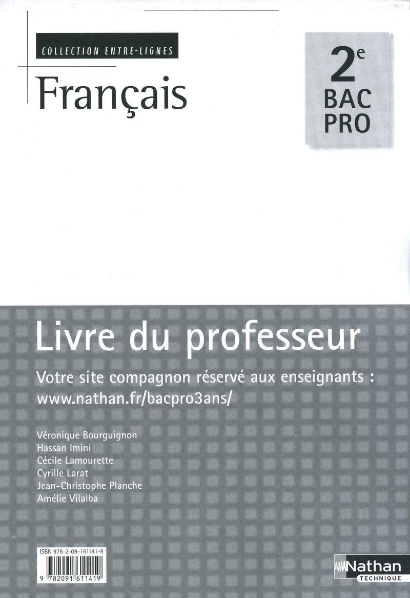 Francais 2de Bac Pro Entre Lignes Livre Du Professeur 2009