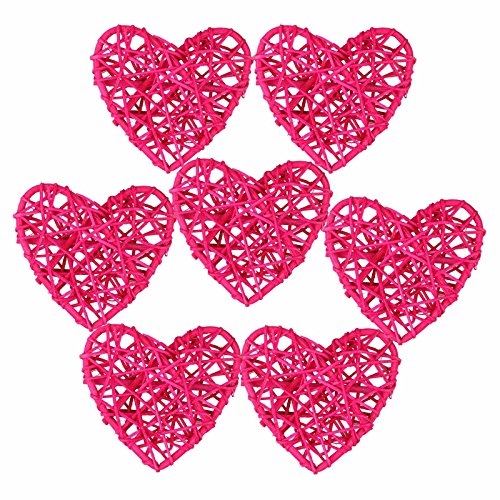 - vLoveLife 10pcs 4'' Heart Rattan Balls Vase Filler Rattan Twig Ball Christmas Tree Ornament Wedding Birthday Party Decoration Decorative Crafts, Bowl, Rabbits, Parrot, Bird Toys - Fuchsia Pink
