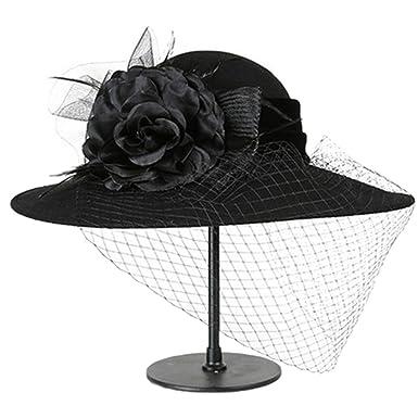 bf1a151d7f79c Women 100% Wool Felt Hats Vintage Flower Derby Church Fedroa Classic  Chapeau Veil Formal hat