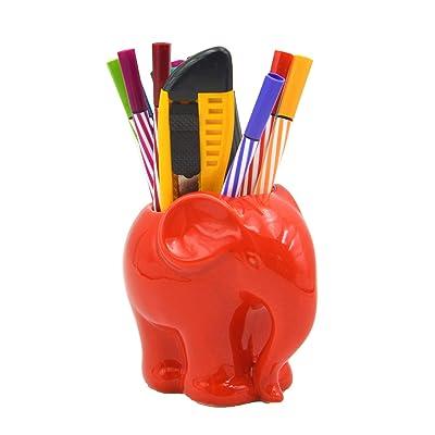 """3.9"""" Ceramic Elephant Pencil Holder/Pen Holder/Plant Pot/Bonsai Pot/Flower Pot/Succulent Planter (Red) : Industrial & Scientific"""