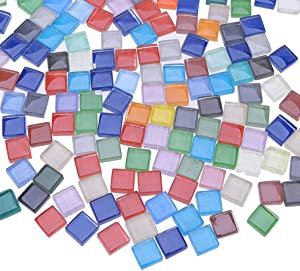 Milisten 300 PCS/270g Mosaic Tiles Stained Glass Mixed Color Mosaic Transparent Glass for Home Decoration DIY Art Craft