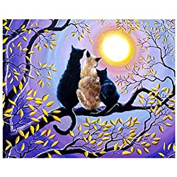 SODIAL Cats on The Tree 5D Diamond Painting Kit Full Drill Embroidery Cross Stitch DIY Art Craft Home Wall Decor (30cm x 40cm)