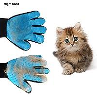 Lembeauty Fellpflege-Handschuh, für Hunde und Katzen, zum Entfernen von Haaren, Bürste und Massage, Silikon, Samt, 1 Stück