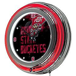 NCAA Ohio State University Smoking Brutus Chrome Double Ring Neon Clock, 14