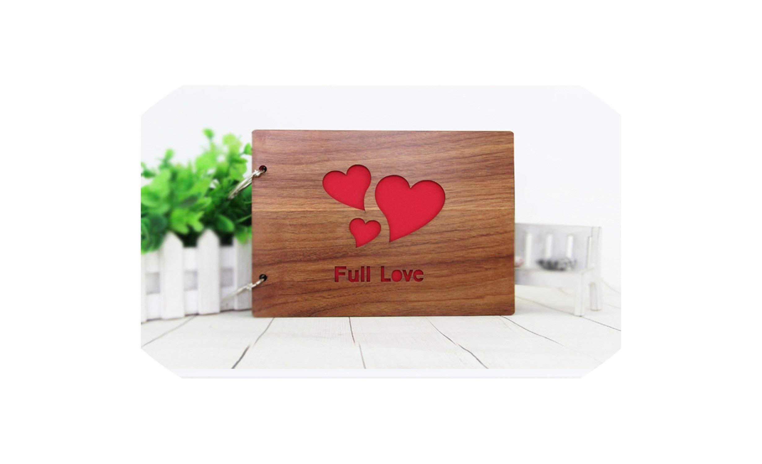 Photo Album Black Cardboard Wood Creative Handmade Loose-Leaf Scrapbook Albums 8 Inch Commemorative Baby Photo Album Wedding Photo Album,03