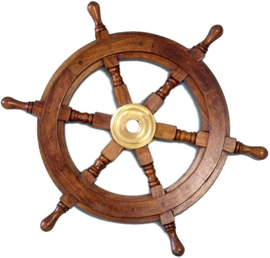 "Hampton Nautical Deluxe Class Wood and Brass Decorative Ship Wheel 15"" - Nautical Home Decoration Gifts"