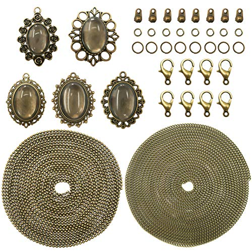 (TOAOB 10 Set Beginner Quick Start Pendant Tray Kit For Jewelry Making Kits Oval Style Bezel Antique Bronze In Color With Glass Cabochons Chains And Clasp)
