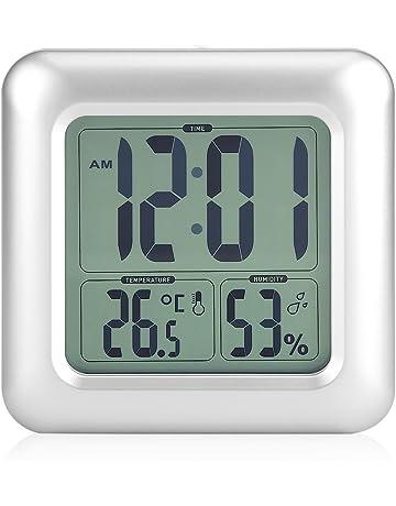 Reloj impermeable digitale reloj silencioso para baño LED reloj despertador digital con temperatura, retroéclairage,