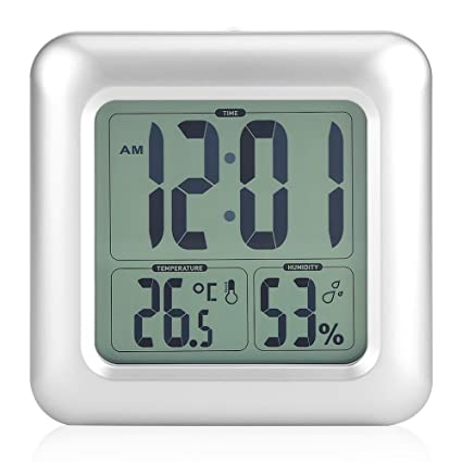 Reloj impermeable digitale reloj silencioso para baño LED reloj despertador digital con temperatura, retroéclairage,